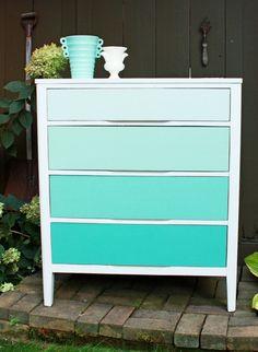 blue ombre dresser - Home decorating