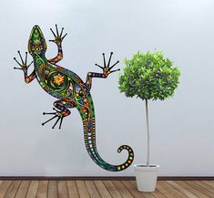 Lizzard Decoration Vinyl Wall Art Decal Colorful Floral Gecko Sticker on Luulla