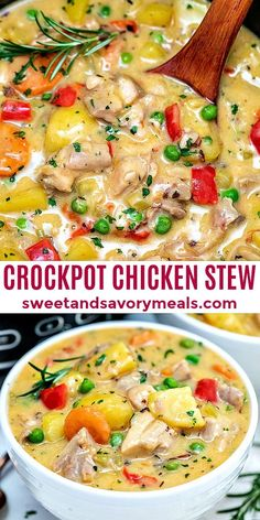 instant pot chicken recipes Slow Cooker Chicken Stew is hearty, filling, made with tender chicken and lots of veggies. This comforting dish will warm you up with its layers o Slow Cooker Chicken Stew, Stew Chicken Recipe, Chicken Recipes, Stew In Slow Cooker, Chicken Soup, Stewed Chicken, Pork Stew, Slow Cooker Recipes, Soup Recipes
