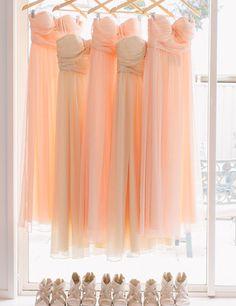 Shades of Peach Inspired Bridesmaid Dresses - Wedding