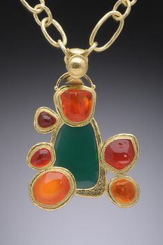 Faceted green agate pendant with Mexican jelly opals set in 18K.  Hughes-Bosca Jewelry | Pendants & Brooches