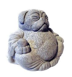 Zen PUG Dog Buddha Garden Art Statue Sculpture by Tyber Katz This wonderful new LUCKY PUG DOG sculpture will be certain to make you smile & create some
