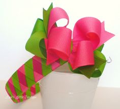 Hair Bow and Headband  one inch wide woven by LeahsLittleBowtique, $12.00