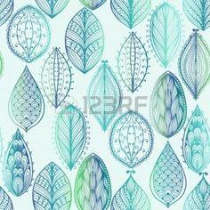 dibujos de hojas de otoño: Patrón de dibujado a mano sin fisuras con las hojas azules acuarela Vectores