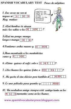 Spanish Vocabulary Test: Adjetives and Word pairs (B1)