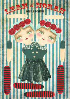 Conjoined twins / Freak show paper doll kit from the Itinerant Bizarrium.