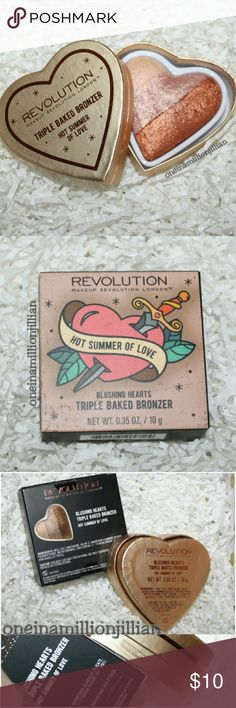 Makeup Revolution Blushing Hearts Bronzer New in Box - Never Used (Swatch from Google)  Full Sz & Authentic  Color: Hot Summer of Love  Makeup Revolution's Blushing Hearts Bronzer is a triple baked obsession that you're bound to fall in love with! This heavenly baked bronzer has three shades merged together to give skin a natural looking glow with a hint of shimmer.  Check out my page for more great items & discounts. #oneinamillionjillian Makeup Revolution Makeup Bronzer