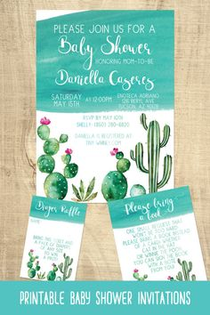 Cactus Baby Shower Invitations | Succulent Baby Shower