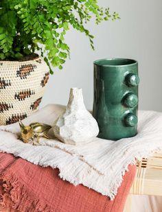 Ceramic Knob Vase - Forest Green