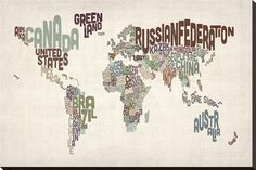 Text Karte von der Welt Leinwand von Michael Tompsett bei AllPosters.de