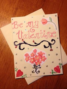 Be My Valentine-- Scrapbook Style Greeting Card on Etsy, $1.00