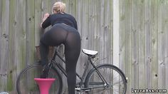 sexy ass in transparent lycra leggings over thong
