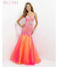 Blush 2014 Prom Dresses - Hot Pink & Yellow Strapless Embroidered Long Prom Gown - Unique Vintage - Prom dresses, retro dresses, retro swimsuits.