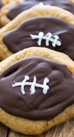 Peanut Butter Football Cookies Recipe ~ fun for a sports themed party