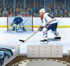 Buy this kids wall mural for a rush of excitement as a hockey player takes a shot at the goalie. Wall murals are perfect for a bedroom or playroom. Large Wall Murals, Kids Wall Murals, Photo Wallpaper, Wall Wallpaper, Hockey Bedroom, Hockey Season, Take A Shot, Home Team, Hockey Players