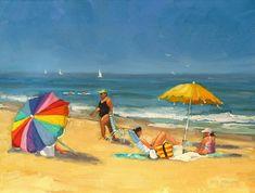 Beach Scene Painting - Day At The Beach by Laura Lee Zanghetti