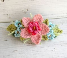 Gorgeous Crochet Hairclip with Pink and Blue Flowers
