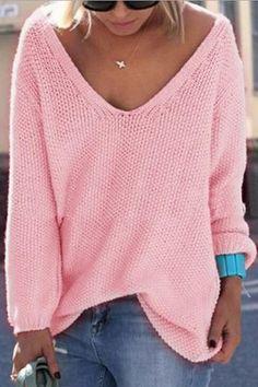 Классический дизайн Розовый Сыпучие Плунге свитер - US$19.95 -YOINS