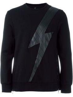 NEIL BARRETT Quilted Thunder Sweatshirt. #neilbarrett #cloth #sweatshirt