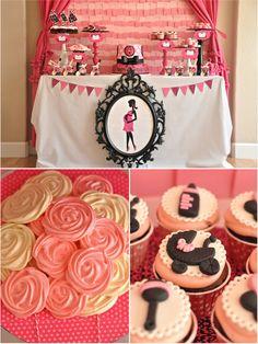 Pink & Black Glam Baby Shower from @Creative Juice #desserttable #babyshower