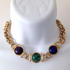 Vintage Signed 1990's KENNETH JAY LANE KJL Art Glass Chain Chunky Necklace  #KennethJayLane #StrandString