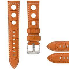 Alligator Grain Genuine Leather Rally Watch Strap Orange 20mm 22mm - Clearance! #Geckota #Rally