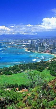 Looking down on Waikiki and Honolulu from Diamond Head on Oahu, Hawaii