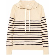 J.Crew Hooded striped cotton sweatshirt ($49) ❤ liked on Polyvore featuring tops, hoodies, sweatshirts, sweaters, sweatshirt, shirts, sand, sweat shirts, pink hoodie and striped hoodie