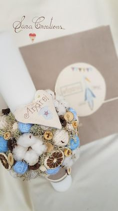 Sara Creations - Lumanare botez nonflorala, personalizata cu inimioara brodata manual si album foto bebelus Christmas Wreaths, Christmas Decorations, Crochet Toys, Cross Stitching, Flower Arrangements, Cute Babies, Baby Boy, Candles, How To Make