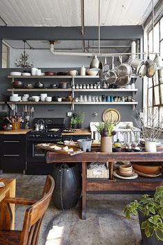 Kitchen Inspiration - the dark walls, open shelving and vintage island make this a perfect space.