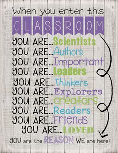Add this wonderful sign outside your classroom.  It can be made into a poster or printed and framed.  It would go perfectly with your retro chic, shabby chic, rustic, or vintage classroom. There are 3 different backgrounds to choose from.