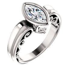 1.0 Ct Marquise Diamond Engagement Ring 14k White Gold