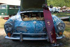 I had a 1968 Karmann Ghia in this gorgeous aqua blue, sans graffiti.  Loved it!