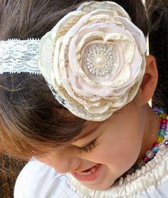 Burlap Lace Flower Headband, Ivory Blush Headband, Bridal Flower Clip, Flower Girl Flowers, Wedding Flowers, Rustic Chic Flowers