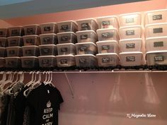 Vinyl chalkboard labels and plastic sterilite bins (shoeboxes) organize shoes in closet redo at 11 Magnolia Lane Closet Redo, Master Closet, Closet Bedroom, Box Bedroom, Kids Bedroom, Bedroom Ideas, Spring Cleaning Organization, Cleaning Closet, Closet Organization