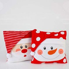 Set of 2 Christmas Whimsy Santa Claus and Snowman Face Throw Pillows Christmas Chair Covers, Christmas Cushions, Christmas Pillow, Felt Christmas, Christmas Colors, Christmas Crafts, Christmas Sewing Projects, Snowman Faces, Jingle All The Way