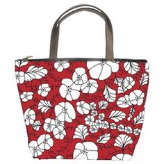 Red White Black Flowers Bucket Bags from CircusValley Mall Front Flowers Bucket, Bucket Bags, Black Flowers, Home Decor Items, Mall, Red And White, Tote Bag, Floral, Gifts