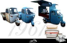 """Kaffemobil auf Basis einer Piaggio Ape 500, ausgestattet mit einer Cafémaschine """"Faema E61"""" (Bj. 1961)"""