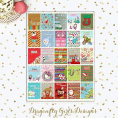 Countdown to Christmas Printable Planner 25 Squares Large Boxes Stickers PDF and jpeg Erin Condren Life Planner Kikkik Filofax