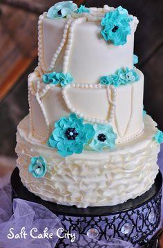 Salt Cake City (www.SaltCakeCity.com) Ruffled Wedding Cake with light blue and black sugar flowers and pearls Cake Baking, Sugar Flowers, No Bake Cake, Wedding Cakes, Addiction, Light Blue, Salt, Pearls, City