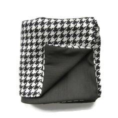 Black & White Houndstooth Wool Blanket Throw