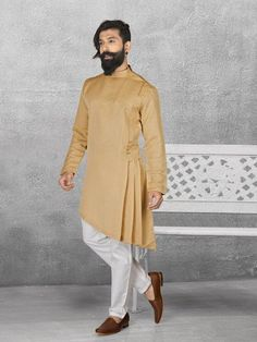 Shop Beige color terry rayon kurta suit online from India. Mens Indian Wear, Indian Groom Wear, Indian Men Fashion, Mens Fashion Blog, Men's Fashion, Kurta Pajama Men, Kurta Men, Mens Sherwani, Designer Kurtis