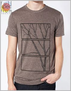Men's Tree T Shirt Nature Tshirt American Apparel XS, S, M, L, XL 8 COLORS - Growth - Triptych (three panel painting) Full Spectrum Apparel on Etsy, $22.00