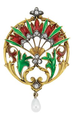 Art Nouveau Gold, Silver, Plique-a-Jour Enamel, Diamond and Pearl Brooch   The openwork circular brooch featuring a red and green plique-a-jour enamel fan atop a gold and red and green plique-a-jour enamel scrolling leaf motif, accented by rose-cut diamonds, suspending one pearl approximately 4.0 mm., circa 1890, approximately 7 dwt.