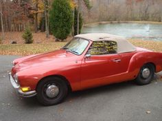 Volkswagen Karmin Ghia...ah, this was my dream car back in the day.  My dad had a forest green one and I always loved it.