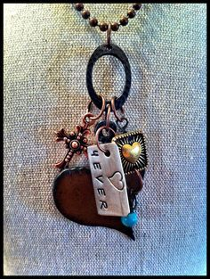 Hand Stamped, Rusty, Rustic Metal Heart Sweetheart Valentine Pendant Charm Necklace  #handmade  #thecraftstar  $21.50