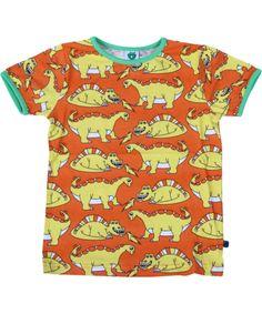 Smafolk adorable orange T-shirt with yellow dinosaurs. smafolk.en.emilea.be