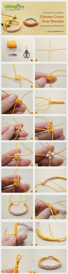 Pictured Tutorial on Making a Chinese Crown Knot Bracelet with Waxed Cord and Seed Beads. Oh and band geeks of the percussion nature, its just a bunch of cymbal knots! Bracelet Knots, Macrame Bracelets, Diy Bracelet, Bracelet Charms, Knotted Bracelet, Paracord Bracelets, Braclets Diy, Friendship Bracelets With Beads, Survival Bracelets