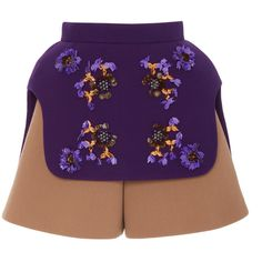 DELPOZO Embroidered Colorblock Shorts (2,965 CAD) ❤ liked on Polyvore featuring shorts, colorblock shorts, floral high waisted shorts, floral shorts, high-rise shorts and flower print shorts