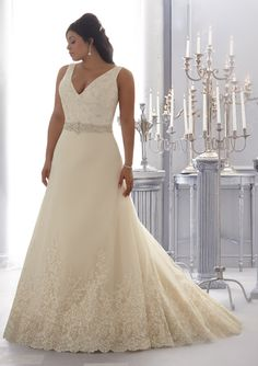A-line/Princess Straps Court Train Appliqued Plus Size Wedding Dress with Beading